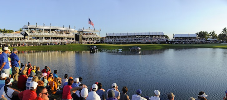 DORAL, FL - MARCH 9:  A panoramic view of the 18th green during the final round of the World Golf Championships-Cadillac Championship at Blue Monster, Trump National Doral, on March 9, 2014 in Doral, Florida. (Photo by Chris Condon/PGA TOUR)