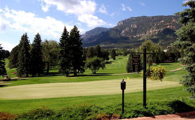 The Broadmoor's mountain setting in Colorado Springs, Colo. is perfect for loosing long tee shots on a golf trip. (The Broadmoor)