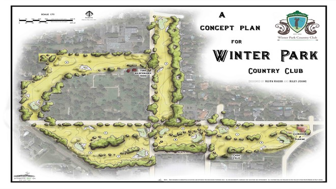 The quaintnine-hole Winter Park Country Club is about to get a radical facelift, courtesy of Keith Rhebb and Riley Johns. But it will remain a public good, rather than a private retreat. (Integrative Golf Co.)