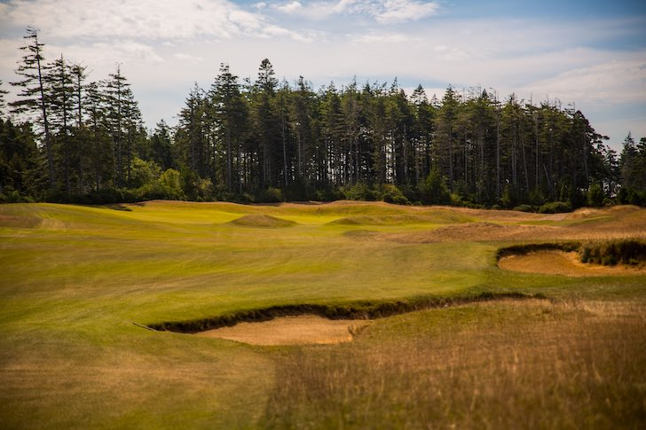 Bandon Dunes Golf Resort (Old Macdonald, hole 18 pictured) is one of many great golf destinations to which travelers now have easier access. (Bandon Dunes Golf Resort/Wood Sabold)