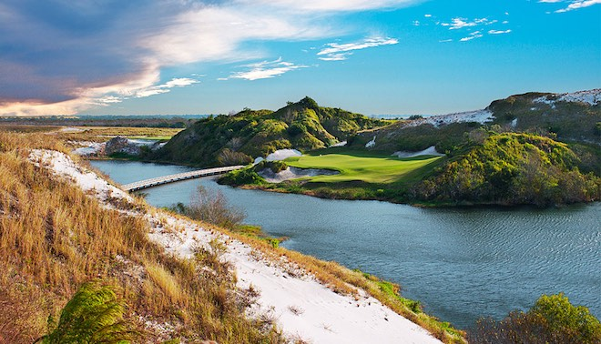 Green contours can be tough to capture in photos, so the fact that they're evident in this one - even from afar - is indicative of the challenge posed by the Blue's putting surfaces. (Streamsong Resort)