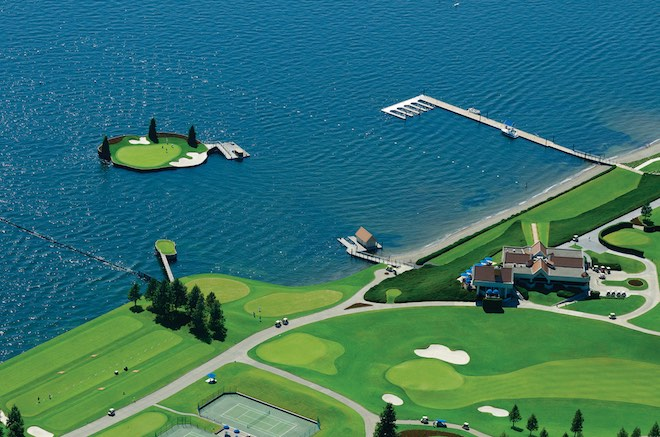 Coeur d'Alene's floating green is one of the more delightfully bizarre things I've seen on my golf vacations. (Coeur d'Alene Resort)