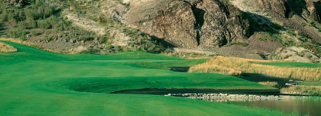 """The black """"slag"""" sand bunkers at Old Works in Montana give the course a unique look. (Old Works Golf Course)"""