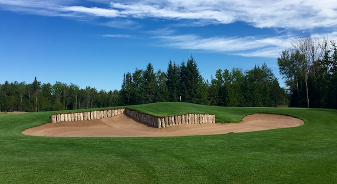 The Z-shaped wood columns in the greenside bunker on the par-4 eighth are a quirky but sincere tribute to one of Sweetgrass' indirect founders.