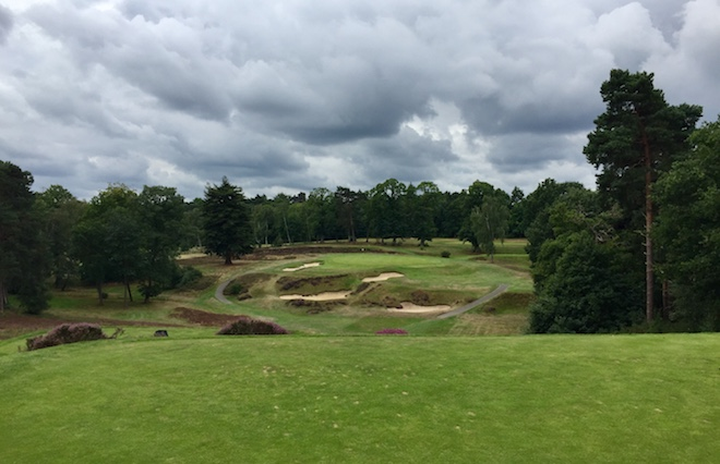 The dramatic par-3 eighth at St. George's Hill, a classic heathland course south of London.