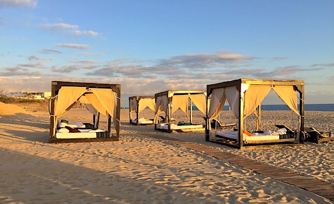 Cabanas on the beach at Pueblo Bonito Pacifica invite guests to relax in style.
