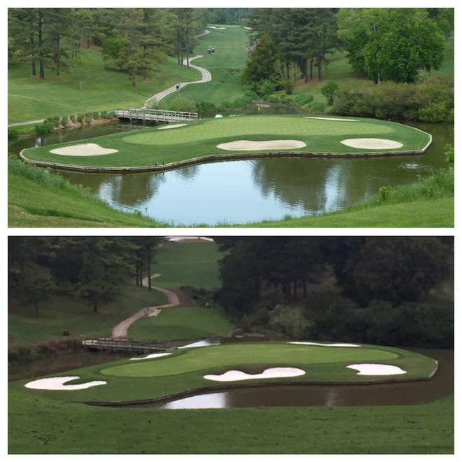 Rees Jones' much-anticipated refreshment of his father's Gold Course at Golden Horseshoe will debut this summer. Thanks to friend of the site CJ Carder for the before-and-after pics!