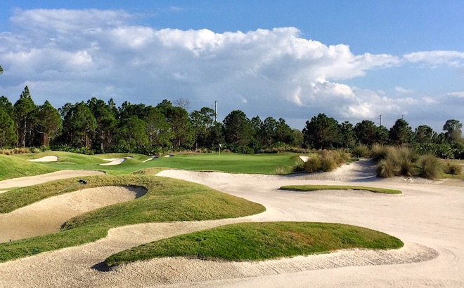 If you're heading south through Florida on I-95, PGA Golf Club andits splendid Dye Course make asuper-convenient stopping point.