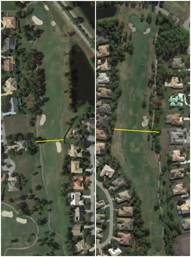 Here's a perfect example of what Google Maps or Google Earth can teach you. On the left is the par-5 eighth at St. Lucie Trail. The yellow OB-to-OB line is just 58 yards. On the right is the par-5 sixth at the Ryder course. There, the corridor is 108 yards wide. Which would you rather play early on in your golf season? (Google Earth)