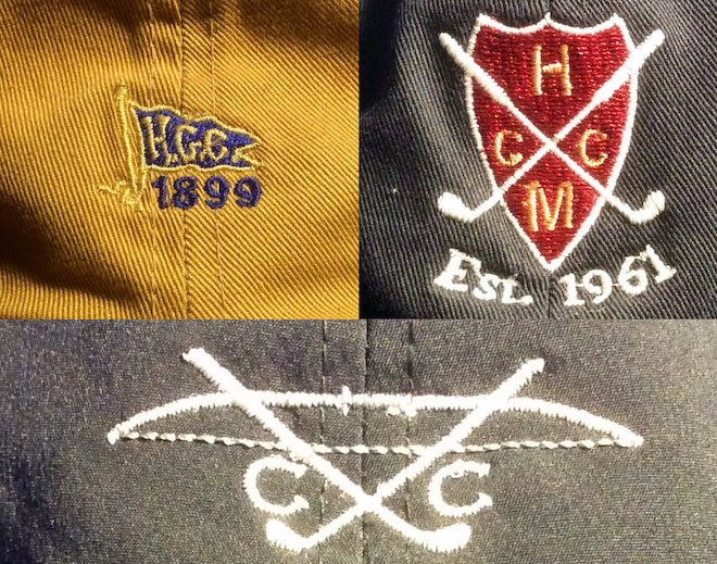 The Hackensack Golf Club logo is very small relative to the size of the hat, which is an interesting quality.