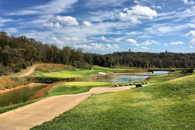 Branson Hills' 16th plays over water to a skinny green.