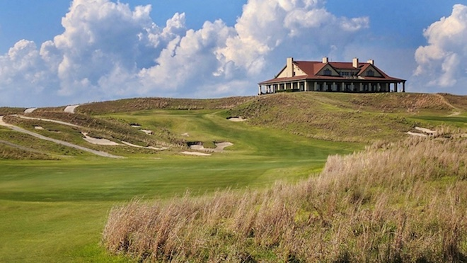 As at Shinnecock, Bulls Bay's clubhouse presides over the golf course.