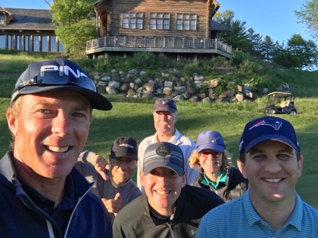 A group of members of the Revolution Golf platform had a fantastic time in June with instructors Andrew Rice (PING hat) and Martin Chuck (grey sweater).
