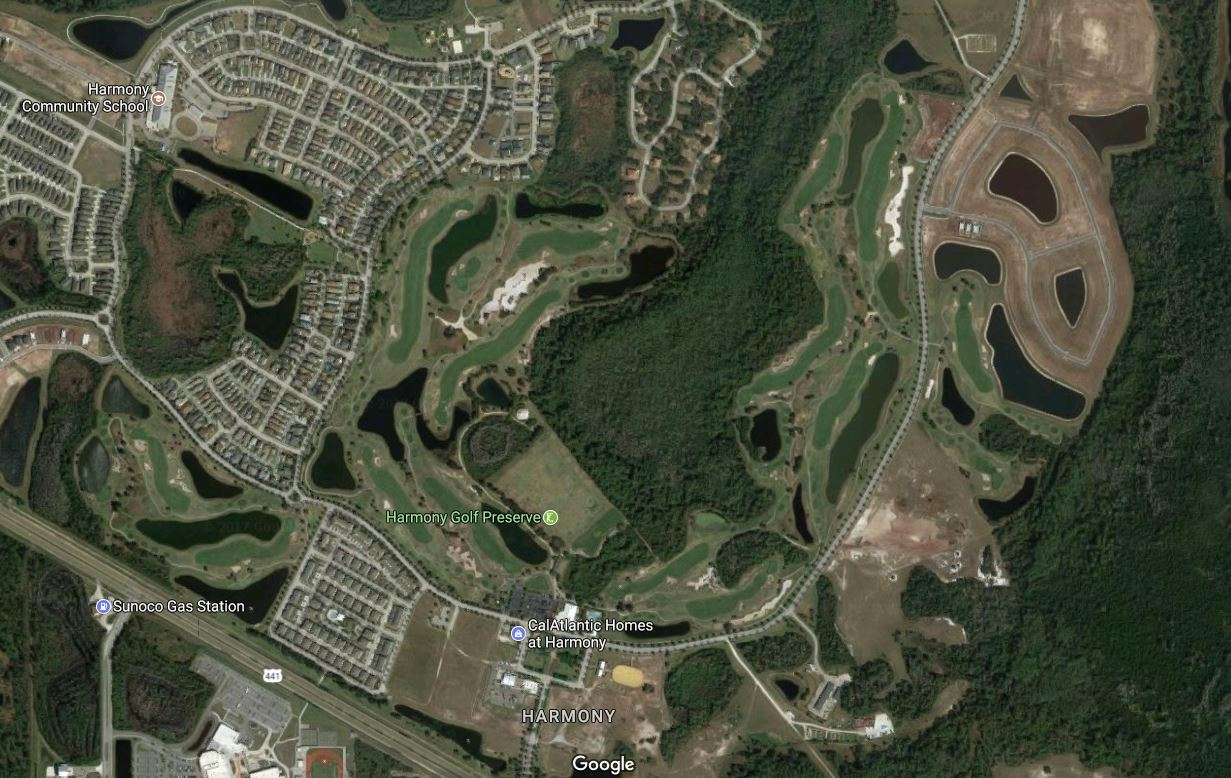 Harmony Golf Preserve is integrated sensitively into its namesake residential community. (Google Maps)
