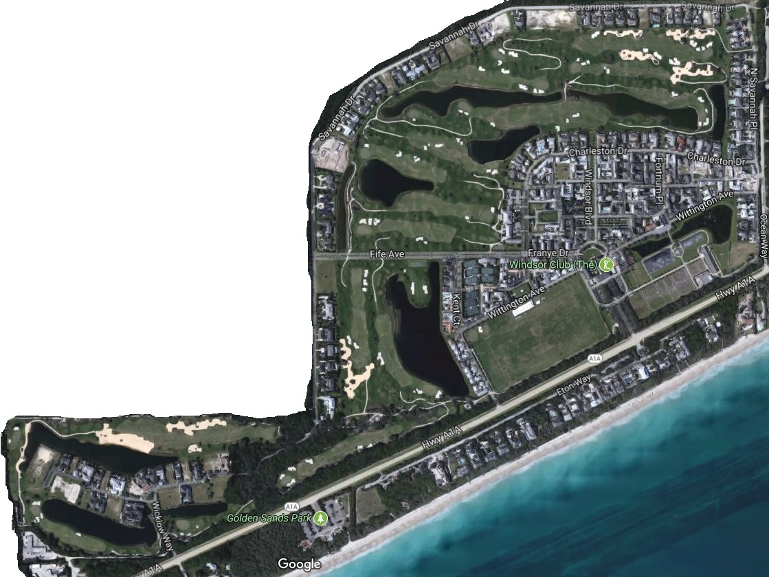 Windsor Club's New Urbanist layout is such that the golfer never feels hemmed in by the housing on property. (Google Maps)