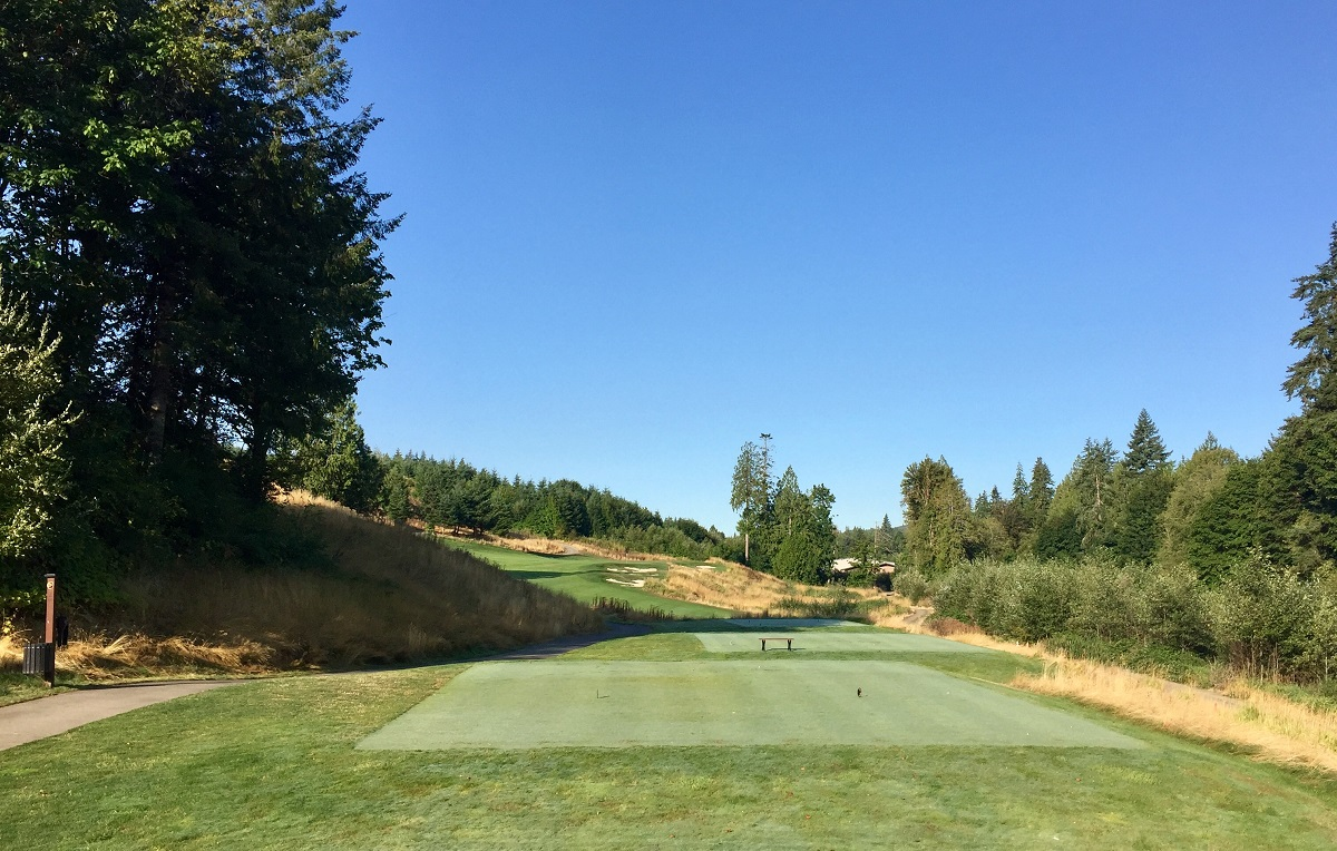 Salish Cliffs' second hole is one of our favorite short par fours anywhere.
