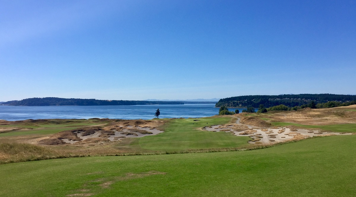 The view from Chambers Bay's fifth tee is one of the best in golf.