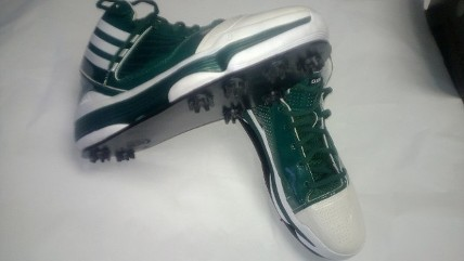 Since Keegan Bradley's golf-specific Air Jordans are custom-made, this is the way to turn your favorite basketball shoes into golf shoes, evidently. (Via StickOnCleats.com)
