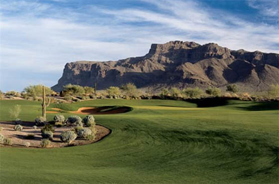 Previously available to members and their guests only, you can now play both of Superstition Mountain GC's Nickalus courses on your Arizona golf vacation: Prospector (above) and Lost Gold.
