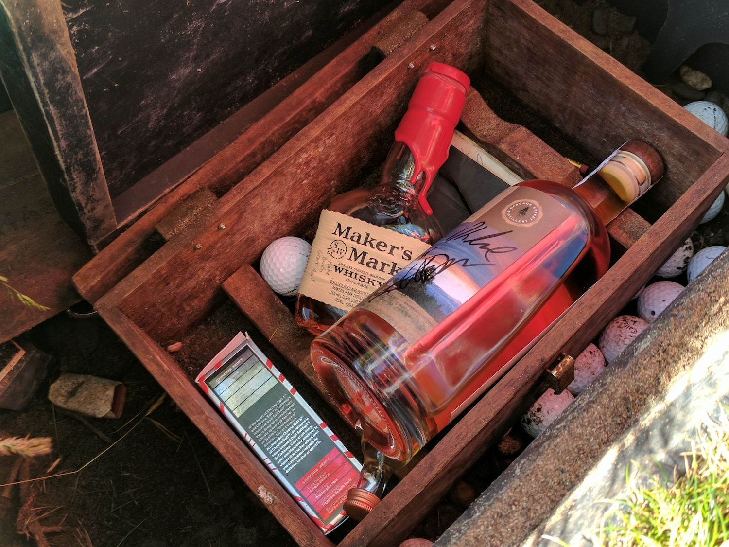 Here's a hidden item at Bandon Dunes that many golfers want to find: a box with a couple bottles of whiskey at a certain location on the original course. If you happen upon it, feel free to have a nip. After doing so, it's customary to write your name in the well-worn notebook in the box. We won't tell you where it's located, but your caddie might.