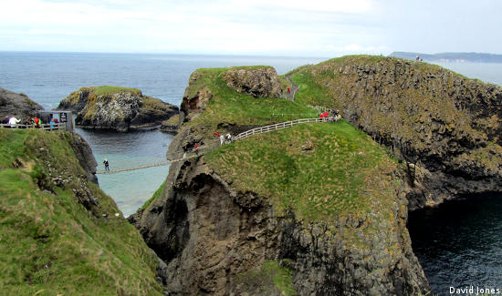 The Carrick-a-Rede Rope Bridge is one of the memorable off-course experiences in Northern Ireland