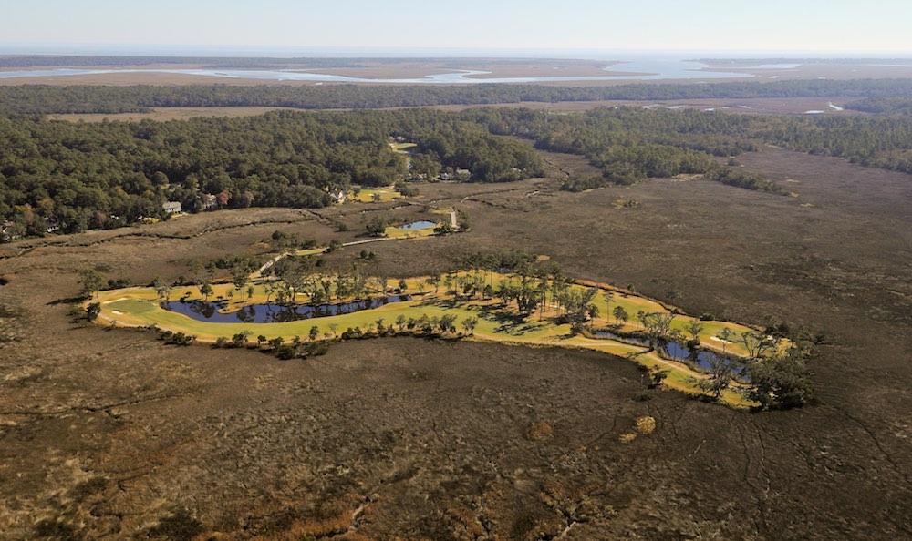 Aerial photograph of The Hampton Club Golf Course of The King and Prince Beach & Golf Resort, St. Simons Island, GA  31522.  912-638-3831.  Pilot is Steve Mooney, 912-399-8277.