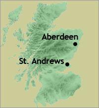 St. Andrews in relation to Aberdeen, where Trump International Golf Club Scotland is underway.