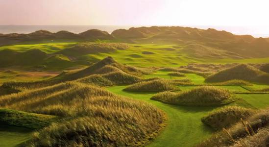 The dunes at Trump Scotland provide visual intrigue, intimidation, and insulation from the wind before the ball rises above their peaks.