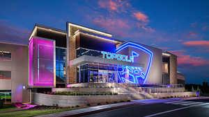 TopGolf Oklahoma City - Exterior by night