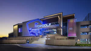 Topgolf Brooklyn Center by night